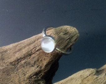Moonstone Ring, Sterling Silver Lunar Ring
