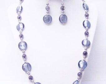 Silver Foil-Lined Disc Glass Beaded Necklace/Bracelet/Earrings