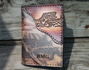 Fish Wallet, Trifold Wallet, Camo or Brown leather, Initials or Name Free, fisherman gift, boyfriend gift, husband gift,  Made in the USA