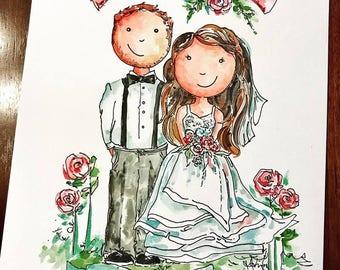 Custom Bride and Groom Portrait