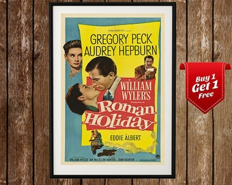 Roman Holiday Poster - Audrey Hepburn, Gregory Peck, Roman Holiday Movie Poster, Roman Holiday Print, Vintage Movie Print, Vintage Poster