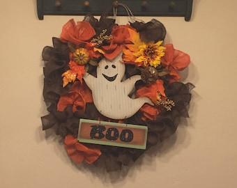 Grapevine Burlap BOO Ghost Wreath