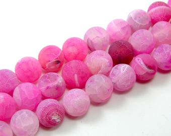 Agate 8 mm fuchsia set of 5 eflorescence bead