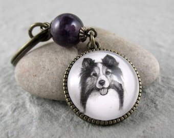 Sheltie Key Ring, Pet Drawing, Pet Gift, Sheltie Keychain, Dog Art, Silver, Bronze, Gemstone, Amethyst, February Birthstone