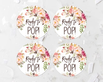 Bohemian Ready To Pop Favor Labels Printable Pink Floral Baby Shower Popcorn Tags Favor Tags Favor Stickers Boho Shower Decoration 265