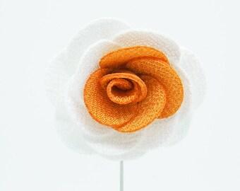 Alexandria White/Orange Flower Lapel Pin