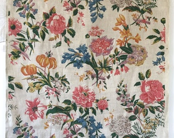 Absolutely Charming 1940's French Linen Floral Print (2267)