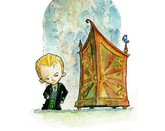 Little Draco Malfoy and the Vanishing Cabinet Inspired Watercolor Print