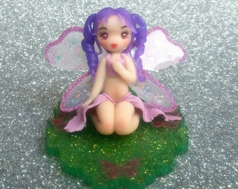 Purple fairy - fimo fairy - fairy figurine - fimo figurine - fimo creations - resin creations - fantasy creations - kawaii fairy