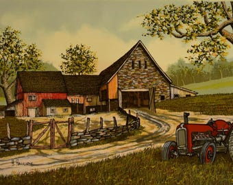 Vintage Farm & Tractor 24x12 Canvas Print - Signed by H. Hargrove