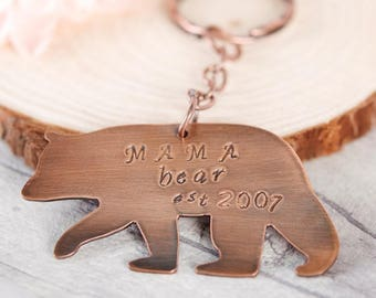Mama Bear Keychain, Handmade Copper Keyring Personalised with Date, Perfect Gift for a New Mummy, Baby Shower, Grandma, Mum's Birthday, Wife