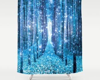 Blue shower curtain | Etsy