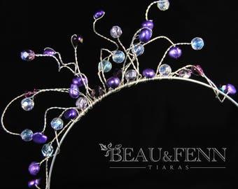 Sale - Pretty purple n crystal brides or bridemaids headband tiara headdress glass crystal n pearl