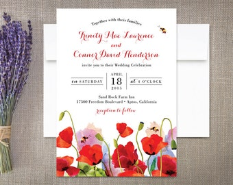Poppies Wedding Invitations Floral and Bees
