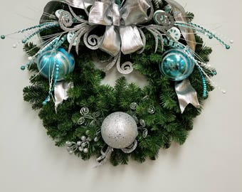 Fun and playful Turquoise and silver Christmas Wreath