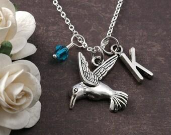 Hummingbird Necklace, Initial birthstone, Hummingbird Jewelry, silver hummingbird charm, personalized hummingbird pendant