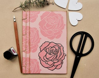 """Handmade notebook with recycled paper, handmade journal, writers journal, gift for her, """"Rose Madder"""""""