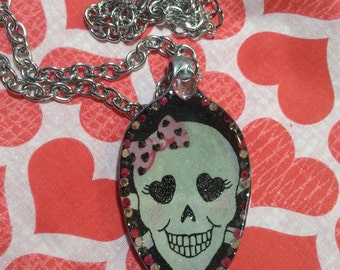 Skull jewelry, Girly Skull with pink hairbow, Resin spoon, Spoon pendant, art, Spoon Necklace, Girly Skull, Skull and rhinestones
