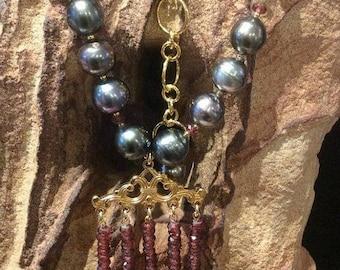 50% Mega Sale Tahitian Pearl, Mozambique Garnet Necklace