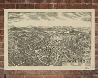 Vintage Pawling Photo, Pawling Map, Aerial Pawling Photo, Old Pawling Map, Pawling Artist Rendering, Pawling Poster, MD Artwork
