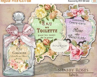 SALE - 40% OFF LABELS Shabby Roses Parfume  - Apothecary Labels - Vintage Tag Parfume - Collage Digital Labels - Collage french Labels - Pri