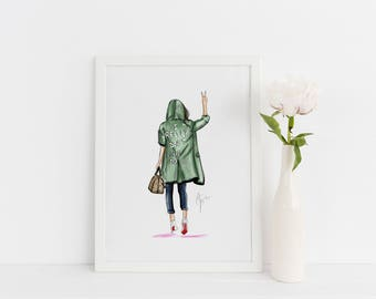 Don't Care (Fashion Illustration Art - Fashion Sketch prints - Home Decor - Wall Decor )