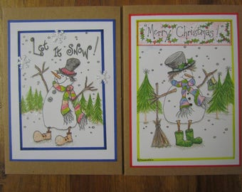 """Pack of two 5x7 Snowmen Christmas cards """"Let It Snow!"""" & """"Merry Christmas!"""""""