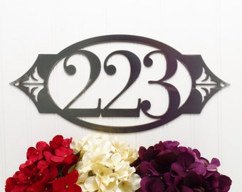 Custom Outdoor House Number Metal Sign - 3 Digit, Uncoated Bare Metal, 16.25x7.25, Address Sign, Metal Sign, Address