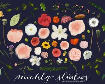 Digital clipart, 66 Floral hand drawn clip art, leaves, rose, daisy, pink, flower elements, graphic, diy, laurel, scrapbook, wedding, 0012