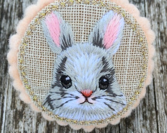 Cute embroidered bunny brooch, Rabbit Pin, White Rabbit Brooch, Rabbit-lover gift, Party favour gifts
