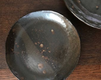Earthy Pottery Dinner Plates medium size handformed organic earth glaze Made to Order