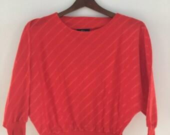 Vintage 1980s Red Womens Top by Ali Originals Ltd