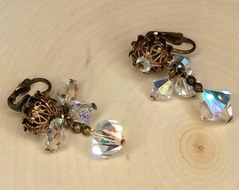 Earrings, Vintage Jewelry, Vintage Earrings, Crystal Occasional Earrings, Women's Dangle And Drop Vintage Earrings - S