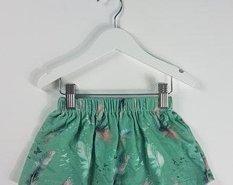 9-12 Months, Baby Skirt, Little Girls Skirt, Baby Skirt, Toddler Skirt, Mint Feathers