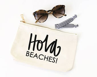 Canvas Cosmetic Bag Hola Beaches Bachelorette Party Favors Travel Makeup Bag Canvas Cosmetic Pouch Canvas Beach Bag Bachelorette Party Gifts