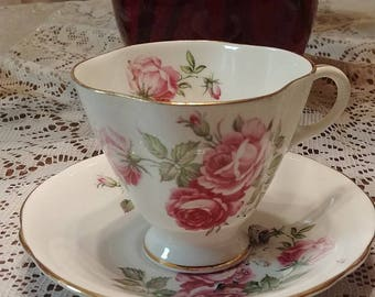 cup and saucer Clarence England bone china pink roses gold trim