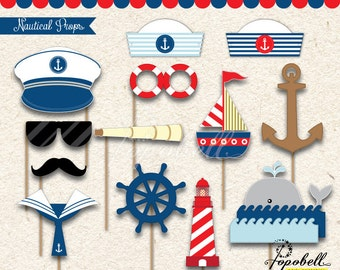Nautical Props for Nautical Birthday Party. Perfect for a little sailor nautical photobooth. Instant Download
