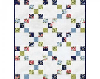 "Roses on the Vine Irish Chain Quilt, Quilt size 30"" x 42"""