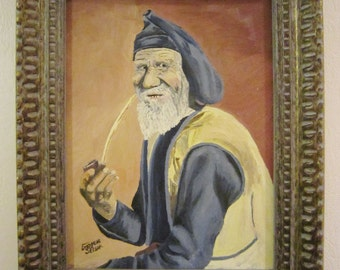 Exquisite Vintage Oil Painting Old Man & Pipe Artist Signed Emogene Selsor 20 x 16 Wood Framed Sea Captain Painting ?