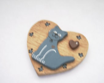 Heart Magnet Cat Magnet Wood Heart Magnet Cat Lover Feline Friend Fridge Magnet Collector Cat Gift Wood Decorated Heart Decorated Cat Magnet