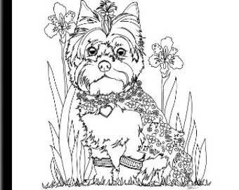 yorkshire coloring pages | Yorkie coloring book | Etsy