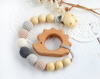 Pacifier Clip Hedgehog Dummy clip Teething Wooden teether Soother Neutral color Grey Cream Beige Pendant Elephant Neutral Baby shower gift