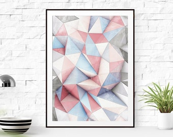Blue and Pink Triangles Print Art, Blue and Pink Triangles printable art, Print Art, Triangles Decor, Blue Art Print, geometric wall art
