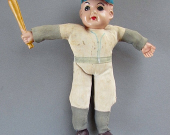 VINTAGE Cloth & Celluloid BASEBALL DOLL Japan