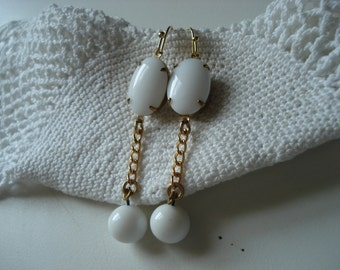SALE Vintage White Milk Glass Gold Earrings Cha Cha Disco Ball