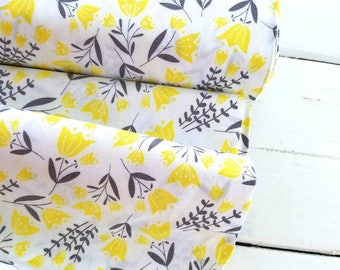 Flutter and Buzz - Tulip on White - Camelot Fabrics
