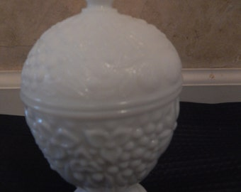 Vintage Avon Milk Glass Covered Candy Dish