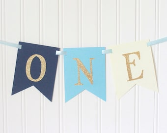 Gold glitter Navy, Blue ONE High Chair Banner Happy Birthday Banner/ Boy Birthday/ Prince Party/ Party Decorations/ 1st birthday/ I am one