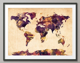 Watercolor Map of the World Map, Art Print (104)