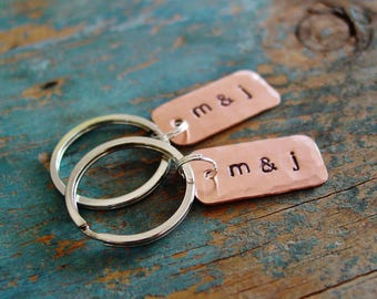 Couples Keychain Set of 2, Personalized Couples Gift, Copper Anniversary, Hand Stamped, Wedding Gift, Valentine Gift